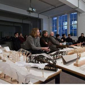 Design and Make MArch Phase 1 Jury, Timber Shelter Group with 100 models, photo Valerie Bennett